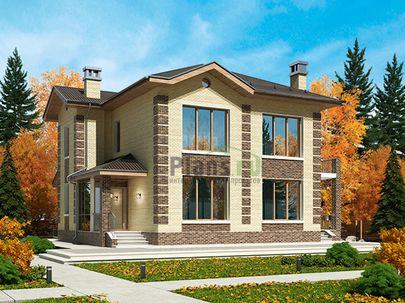 Проект двухэтажного дома 14x12 метров, общей площадью 161 м2, из газобетона (пеноблоков), c террасой, котельной и кухней-столовой