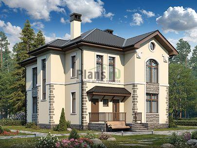 Проект двухэтажного дома 14x12 метров, общей площадью 179 м2, из керамических блоков, c террасой, котельной и кухней-столовой