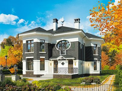 Проект двухэтажного дома 14x12 метров, общей площадью 187 м2, из кирпича, c террасой, котельной и кухней-столовой