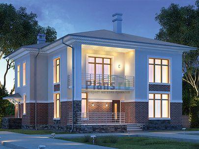 Проект двухэтажного дома 14x12 метров, общей площадью 195 м2, из газобетона (пеноблоков), c террасой, котельной и кухней-столовой