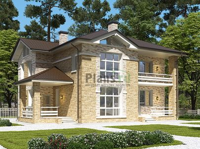 Проект двухэтажного дома 14x12 метров, общей площадью 197 м2, из газобетона (пеноблоков), c террасой, котельной и кухней-столовой