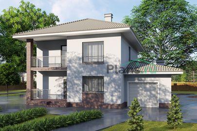 Проект двухэтажного дома 14x12 метров, общей площадью 199 м2, из газобетона (пеноблоков), c гаражом, террасой, котельной и кухней-столовой