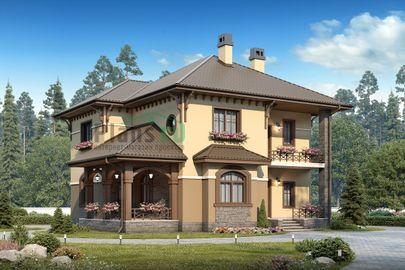 Проект двухэтажного дома 14x12 метров, общей площадью 200 м2, из газобетона (пеноблоков), c террасой, котельной и кухней-столовой