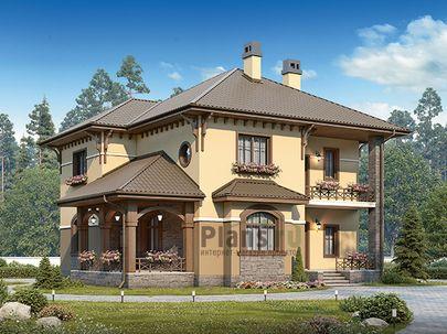 Проект двухэтажного дома 14x12 метров, общей площадью 200 м2, из керамических блоков, c террасой, котельной и кухней-столовой