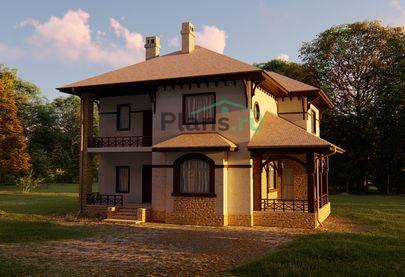 Проект двухэтажного дома 14x12 метров, общей площадью 201 м2, из керамических блоков, c террасой, котельной и кухней-столовой