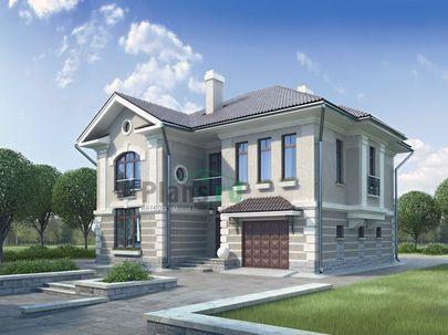 Проект двухэтажного дома 14x12 метров, общей площадью 210 м2, из газобетона (пеноблоков), c гаражом, котельной, лоджией и кухней-столовой