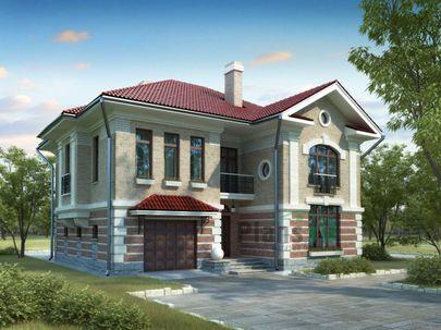 Проект двухэтажного дома 14x12 метров, общей площадью 210 м2, из керамических блоков, c гаражом, котельной, лоджией и кухней-столовой