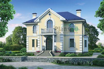 Проект двухэтажного дома 14x12 метров, общей площадью 244 м2, из газобетона (пеноблоков), c террасой