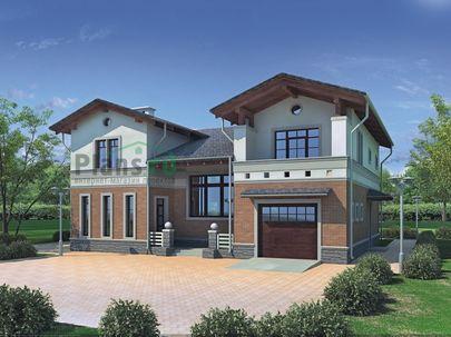 Проект двухэтажного дома 14x12 метров, общей площадью 249 м2, из керамических блоков, со вторым светом, c гаражом, террасой и котельной