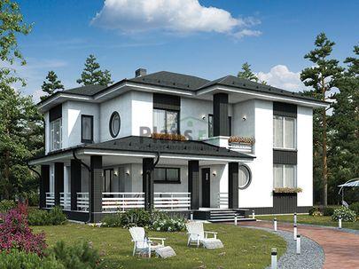 Проект двухэтажного дома 14x13 метров, общей площадью 153 м2, из газобетона (пеноблоков), c террасой, котельной и кухней-столовой