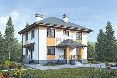 Проект двухэтажного дома 14x13 метров, общей площадью 159 м2, из керамических блоков, c террасой, котельной и кухней-столовой