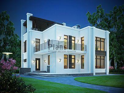 Проект двухэтажного дома 14x13 метров, общей площадью 185 м2, из газобетона (пеноблоков), c террасой, котельной и кухней-столовой