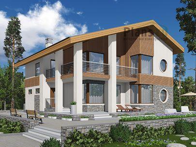 Проект двухэтажного дома 14x13 метров, общей площадью 187 м2, из газобетона (пеноблоков), c террасой, котельной и кухней-столовой