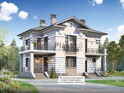 Проект двухэтажного дома 14x13 метров, общей площадью 191 м2, из кирпича, c террасой, котельной и кухней-столовой
