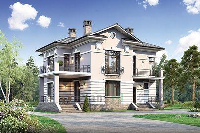 Проект двухэтажного дома 14x13 метров, общей площадью 197 м2, из газобетона (пеноблоков), c котельной и кухней-столовой
