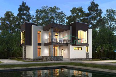 Проект двухэтажного дома 14x13 метров, общей площадью 198 м2, из керамических блоков, c террасой, котельной, лоджией и кухней-столовой