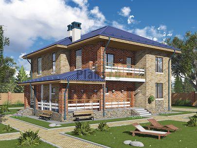 Проект двухэтажного дома 14x13 метров, общей площадью 201 м2, из газобетона (пеноблоков), c террасой, котельной и кухней-столовой