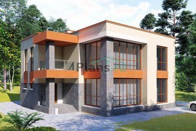 Проект двухэтажного дома 14x13 метров, общей площадью 207 м2, из газобетона (пеноблоков), c котельной и кухней-столовой