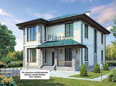 Проект двухэтажного дома 14x13 метров, общей площадью 207 м2, из керамических блоков, c гаражом, террасой, котельной и кухней-столовой