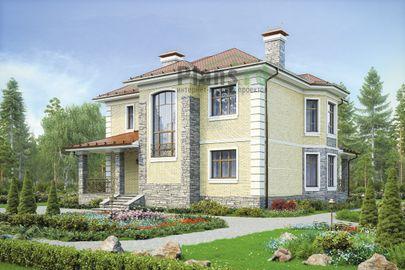Проект двухэтажного дома 14x13 метров, общей площадью 209 м2, из керамических блоков, c террасой, котельной и кухней-столовой