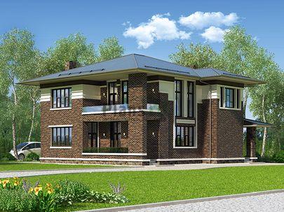 Проект двухэтажного дома 14x13 метров, общей площадью 218 м2, из керамических блоков, со вторым светом, c террасой, котельной и кухней-столовой