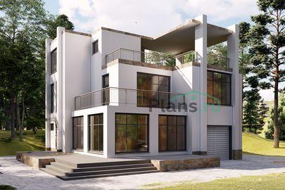 Проект двухэтажного дома 14x13 метров, общей площадью 225 м2, из газобетона (пеноблоков), c гаражом, террасой, котельной и кухней-столовой