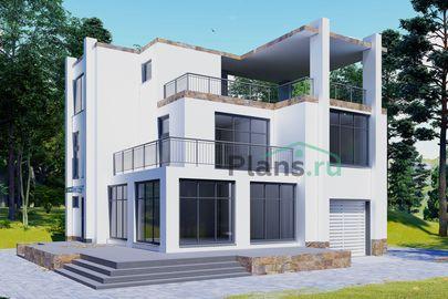 Проект двухэтажного дома 14x13 метров, общей площадью 225 м2, из керамических блоков, c гаражом, террасой, котельной и кухней-столовой