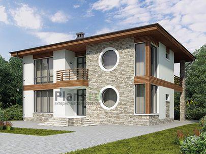 Проект двухэтажного дома 14x13 метров, общей площадью 235 м2, из газобетона (пеноблоков), c котельной и кухней-столовой