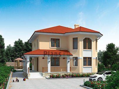 Проект двухэтажного дома 14x14 метров, общей площадью 165 м2, из газобетона (пеноблоков), c террасой, котельной и кухней-столовой