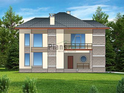 Проект двухэтажного дома 14x14 метров, общей площадью 176 м2, из керамических блоков, со вторым светом, c террасой, котельной и кухней-столовой