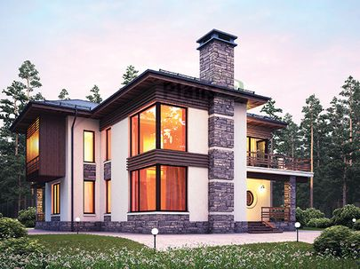 Проект двухэтажного дома 14x14 метров, общей площадью 188 м2, из керамических блоков, со вторым светом, c террасой, котельной, лоджией и кухней-столовой