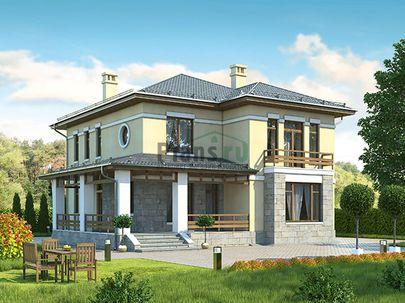 Проект двухэтажного дома 14x14 метров, общей площадью 199 м2, из керамических блоков, c террасой, котельной и кухней-столовой