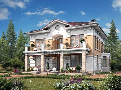 Проект двухэтажного дома 14x14 метров, общей площадью 216 м2, из керамических блоков, c террасой, котельной и кухней-столовой