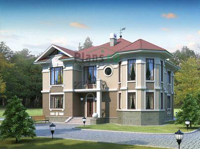 Проект двухэтажного дома 14x14 метров, общей площадью 222 м2, из газобетона (пеноблоков), c котельной и кухней-столовой