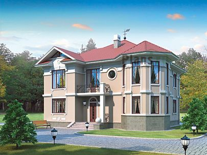 Проект двухэтажного дома 14x14 метров, общей площадью 222 м2, из керамических блоков, c котельной и кухней-столовой