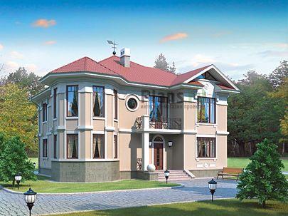 Проект двухэтажного дома 14x14 метров, общей площадью 222 м2, из керамических блоков, c террасой, котельной и кухней-столовой