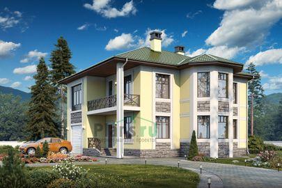 Проект двухэтажного дома 14x14 метров, общей площадью 250 м2, из керамических блоков, c гаражом и котельной