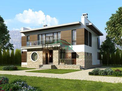 Проект двухэтажного дома 14x14 метров, общей площадью 257 м2, из керамических блоков, c террасой, котельной и кухней-столовой