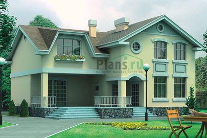 Проект двухэтажного дома 14x14 метров, общей площадью 272 м2, из керамических блоков, c террасой и кухней-столовой