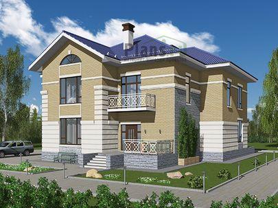 Проект двухэтажного дома 14x14 метров, общей площадью 284 м2, из керамических блоков, c террасой, котельной и кухней-столовой