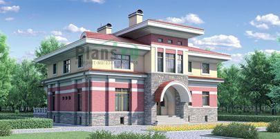 Проект двухэтажного дома 14x14 метров, общей площадью 311 м2, из керамических блоков, c террасой, котельной и кухней-столовой