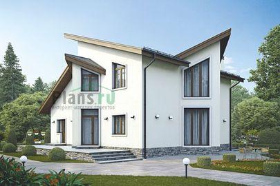 Проект двухэтажного дома 14x15 метров, общей площадью 177 м2, из керамических блоков, c террасой и котельной