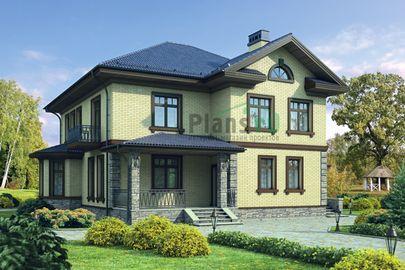 Проект двухэтажного дома 14x15 метров, общей площадью 213 м2, из газобетона (пеноблоков), c террасой, котельной и кухней-столовой
