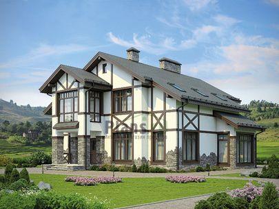 Проект двухэтажного дома 14x15 метров, общей площадью 228 м2, из газобетона (пеноблоков), c террасой, котельной и кухней-столовой