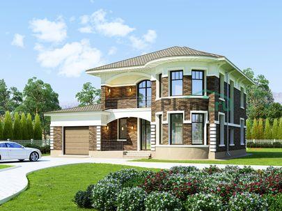 Проект двухэтажного дома 14x16 метров, общей площадью 262 м2, из газобетона (пеноблоков), c гаражом, бассейном, зимним садом, террасой, котельной и кухней-столовой