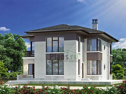 Проект двухэтажного дома 14x17 метров, общей площадью 182 м2, из газобетона (пеноблоков), со вторым светом, c террасой, котельной и кухней-столовой