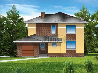 Проект двухэтажного дома 14x19 метров, общей площадью 268 м2, из керамических блоков, c гаражом, террасой, котельной и кухней-столовой