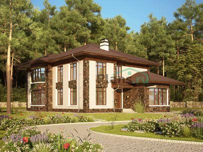 Проект двухэтажного дома 14x21 метров, общей площадью 335 м2, из керамических блоков, со вторым светом, c террасой, котельной и кухней-столовой