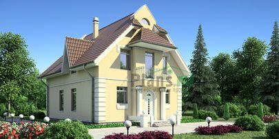 Проект двухэтажного дома 14x9 метров, общей площадью 168 м2, из газобетона (пеноблоков), c террасой