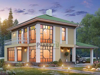 Проект двухэтажного дома 15x10 метров, общей площадью 119 м2, из кирпича, c террасой, котельной и кухней-столовой